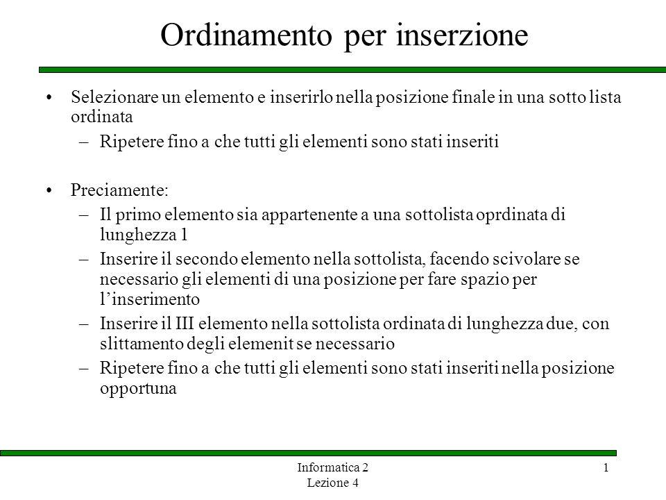 Informatica 2 Lezione 4 1 Ordinamento per inserzione Selezionare un elemento e inserirlo nella posizione finale in una sotto lista ordinata –Ripetere