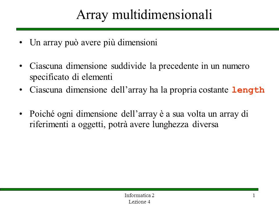 Informatica 2 Lezione 4 1 Array multidimensionali Un array può avere più dimensioni Ciascuna dimensione suddivide la precedente in un numero specifica