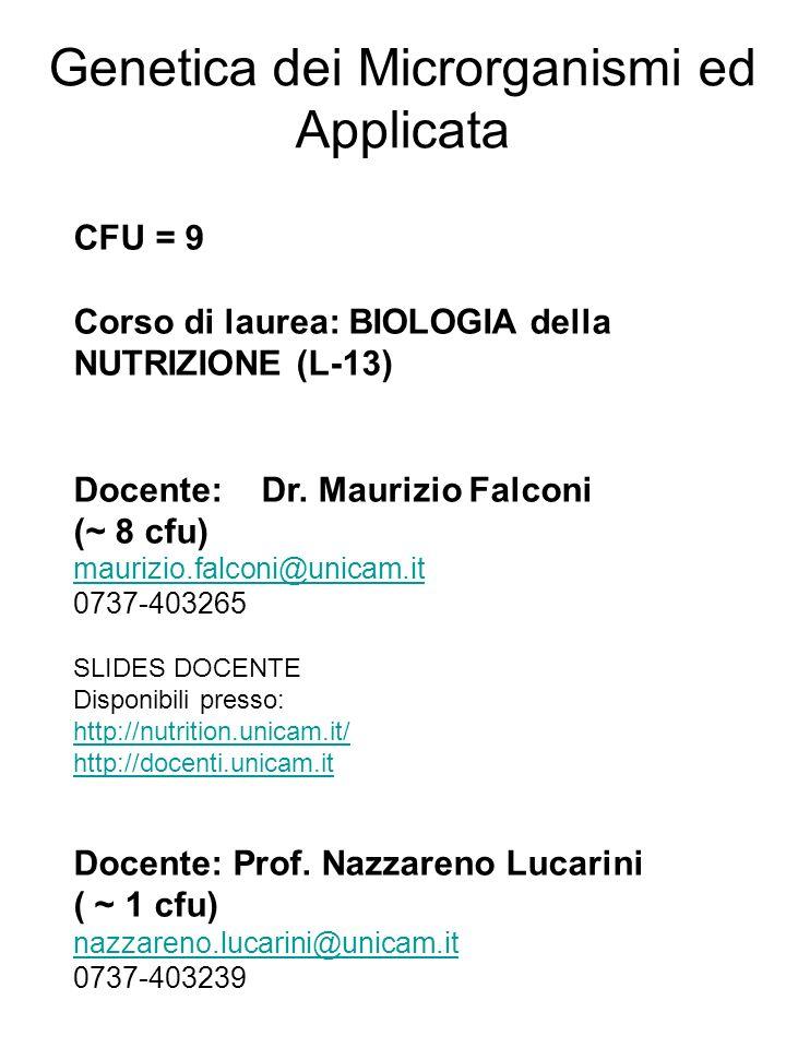 CFU = 9 Corso di laurea: BIOLOGIA della NUTRIZIONE (L-13) Docente: Dr. Maurizio Falconi (~ 8 cfu) maurizio.falconi@unicam.it 0737-403265 SLIDES DOCENT