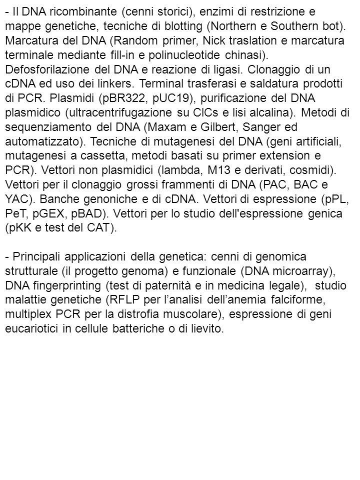 - Il DNA ricombinante (cenni storici), enzimi di restrizione e mappe genetiche, tecniche di blotting (Northern e Southern bot). Marcatura del DNA (Ran
