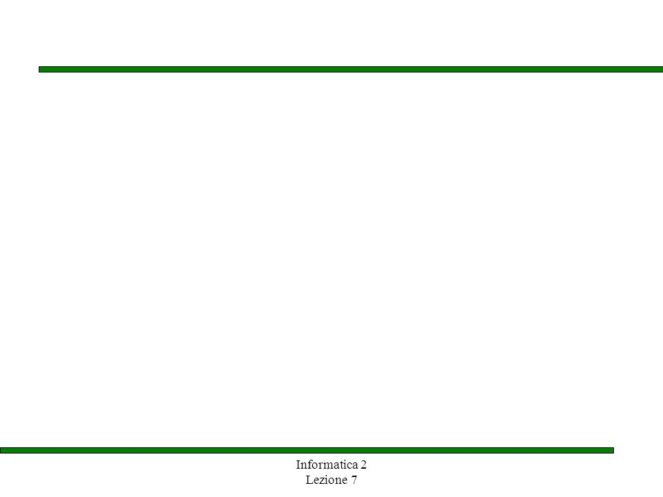 Informatica 2 Lezione 7 1 Eccezioni controllate Uneccezione può essere controllata o non controllata Uneccezione controllata può essere sollevata solo in un blocco try o in un metodo che dichiara di poter lanciare uneccezione di quel tipo con la clausola throw Il compilatore segnala se uneccezione controllata non viene gestita propriamente Uneccezione non controllata non richiede una gestione esplicita con la clausola throw