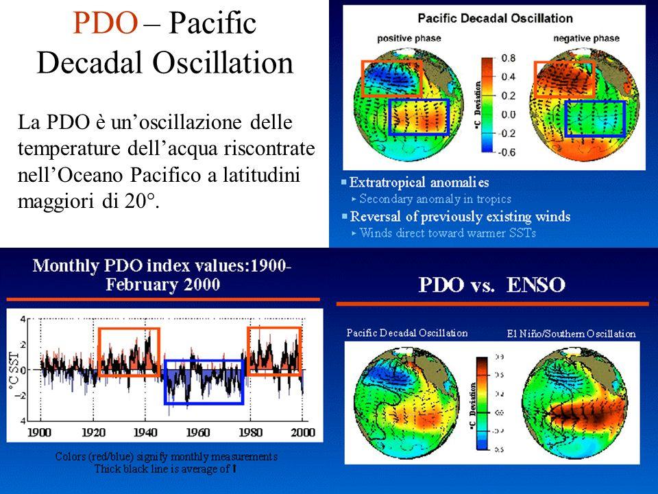 PDO – Pacific Decadal Oscillation La PDO è unoscillazione delle temperature dellacqua riscontrate nellOceano Pacifico a latitudini maggiori di 20°.