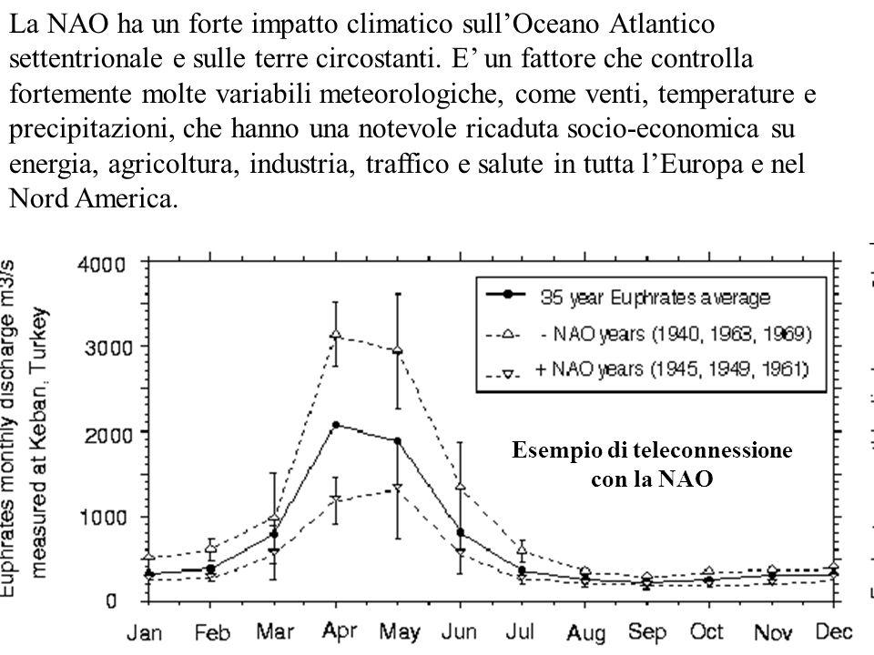 Esempio di teleconnessione con la NAO La NAO ha un forte impatto climatico sullOceano Atlantico settentrionale e sulle terre circostanti. E un fattore
