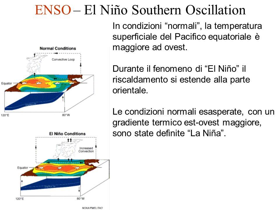 ENSO – El Niño Southern Oscillation In condizioni normali, la temperatura superficiale del Pacifico equatoriale è maggiore ad ovest. Durante il fenome