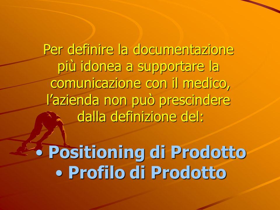 Per definire la documentazione più idonea a supportare la comunicazione con il medico, lazienda non può prescindere dalla definizione del: Positioning