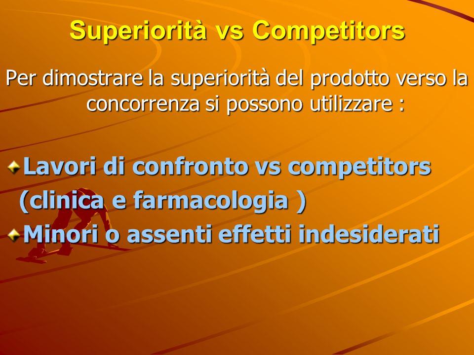 Superiorità vs Competitors Per dimostrare la superiorità del prodotto verso la concorrenza si possono utilizzare : Lavori di confronto vs competitors