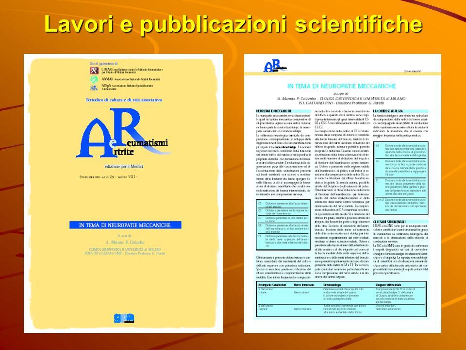 Lavori e pubblicazioni scientifiche