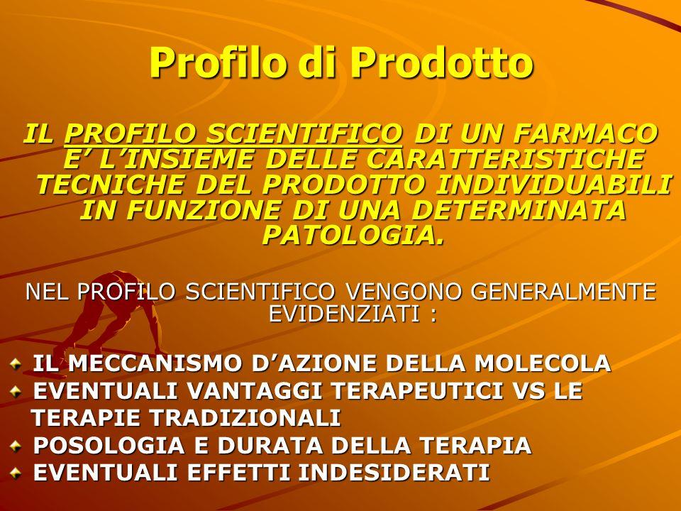 Profilo di Prodotto IL PROFILO SCIENTIFICO DI UN FARMACO E LINSIEME DELLE CARATTERISTICHE TECNICHE DEL PRODOTTO INDIVIDUABILI IN FUNZIONE DI UNA DETER