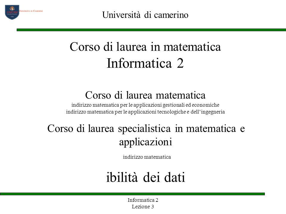 Informatica 2 Lezione 3 Corso di laurea in matematica Informatica 2 Corso di laurea matematica indirizzo matematica per le applicazioni gestionali ed