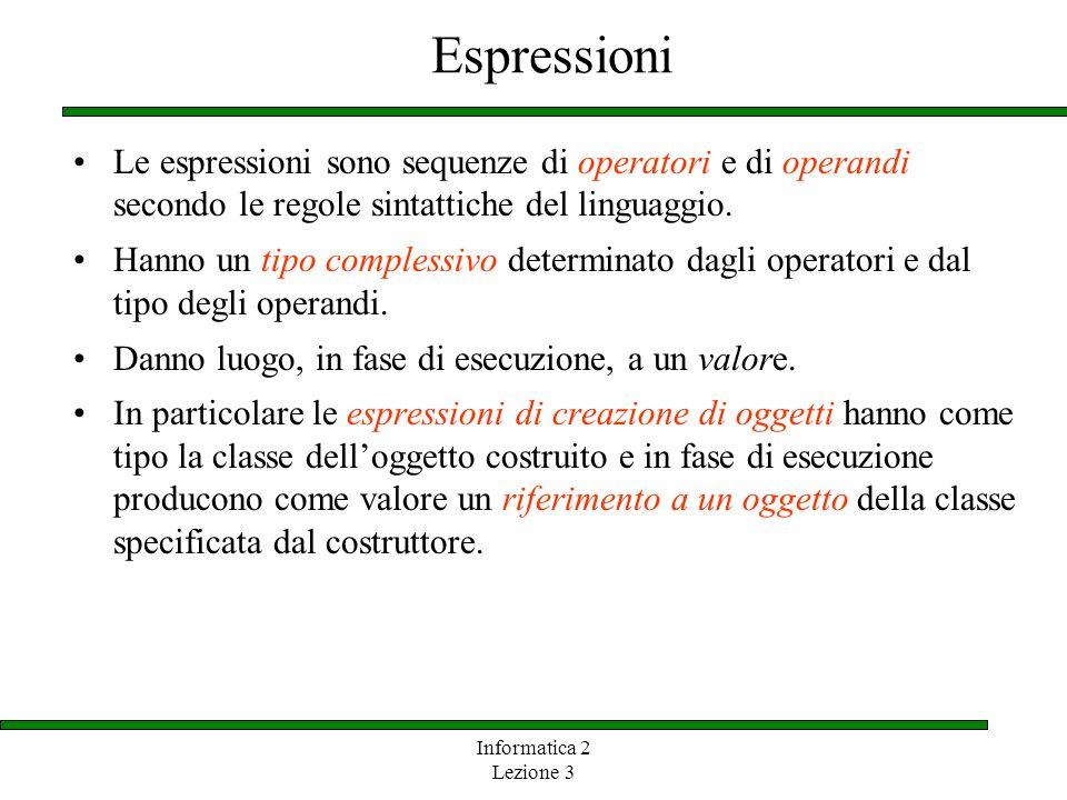 Informatica 2 Lezione 3 Espressioni Le espressioni sono sequenze di operatori e di operandi secondo le regole sintattiche del linguaggio. Hanno un tip