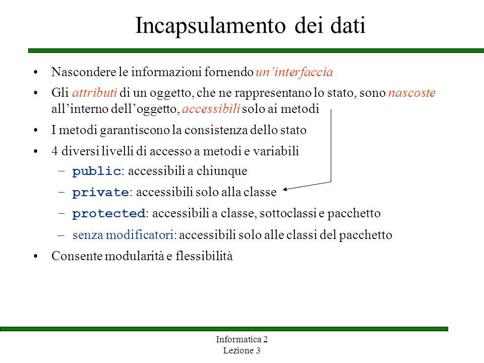 Informatica 2 Lezione 3 Incapsulamento dei dati Nascondere le informazioni fornendo uninterfaccia Gli attributi di un oggetto, che ne rappresentano lo