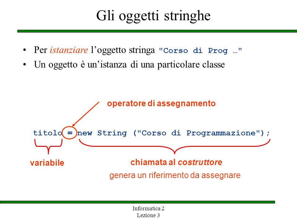 Informatica 2 Lezione 3 Gli oggetti stringhe titolo = new String (
