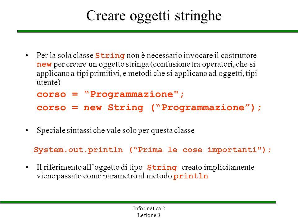 Informatica 2 Lezione 3 Creare oggetti stringhe Per la sola classe String non è necessario invocare il costruttore new per creare un oggetto stringa (