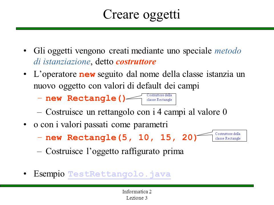 Informatica 2 Lezione 3 Creare oggetti Gli oggetti vengono creati mediante uno speciale metodo di istanziazione, detto costruttore Loperatore new segu