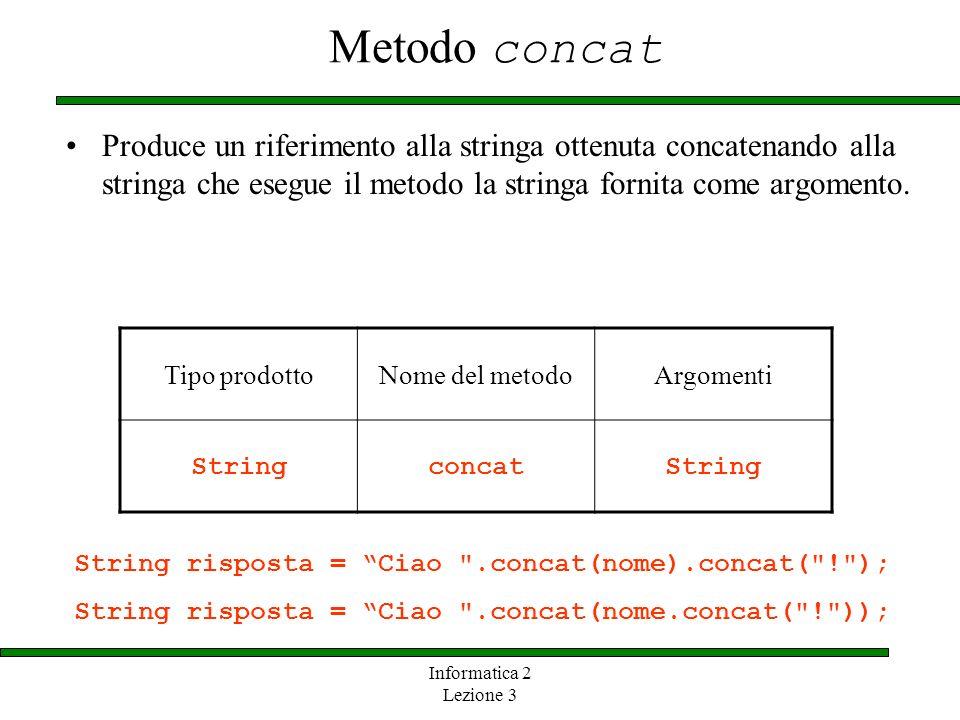Informatica 2 Lezione 3 Metodo concat Produce un riferimento alla stringa ottenuta concatenando alla stringa che esegue il metodo la stringa fornita c