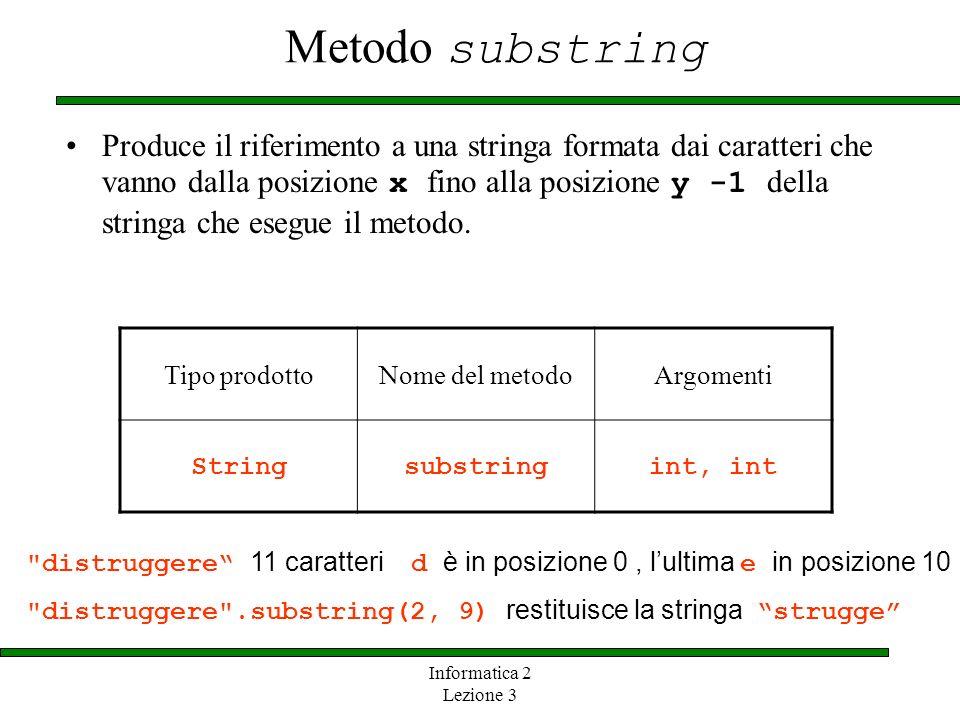Informatica 2 Lezione 3 Metodo substring Produce il riferimento a una stringa formata dai caratteri che vanno dalla posizione x fino alla posizione y