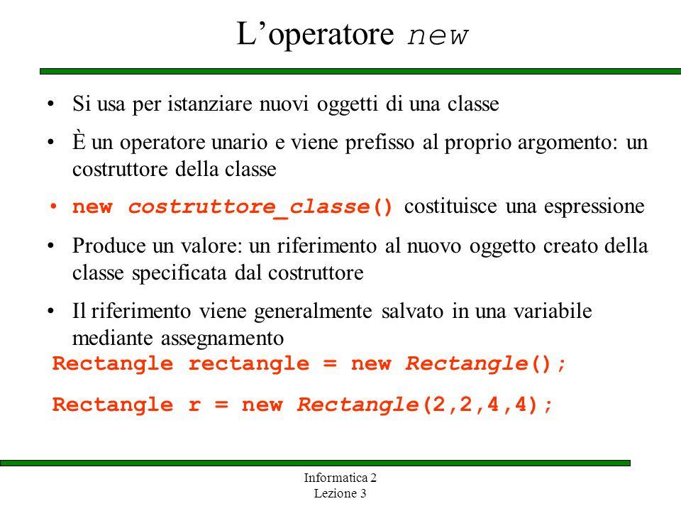 Informatica 2 Lezione 3 Loperatore new Si usa per istanziare nuovi oggetti di una classe È un operatore unario e viene prefisso al proprio argomento: