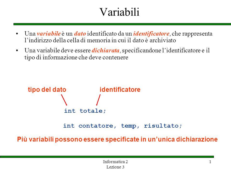 Informatica 2 Lezione 3 1 Variabili Una variabile è un dato identificato da un identificatore, che rappresenta lindirizzo della cella di memoria in cu