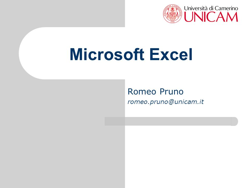 Microsoft Excel Romeo Pruno romeo.pruno@unicam.it