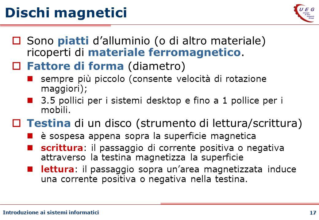 Introduzione ai sistemi informatici 17 Dischi magnetici Sono piatti dalluminio (o di altro materiale) ricoperti di materiale ferromagnetico. Fattore d