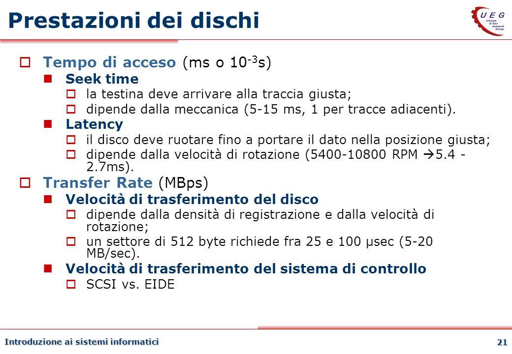 Introduzione ai sistemi informatici 21 Prestazioni dei dischi Tempo di acceso (ms o 10 -3 s) Seek time la testina deve arrivare alla traccia giusta; d