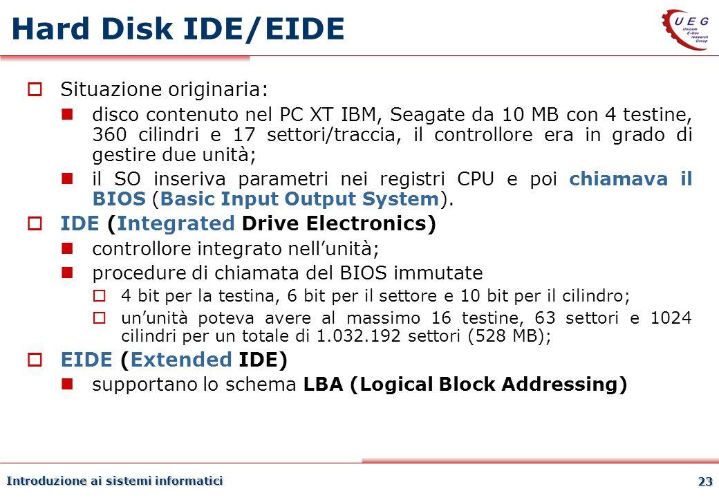 Introduzione ai sistemi informatici 23 Hard Disk IDE/EIDE Situazione originaria: disco contenuto nel PC XT IBM, Seagate da 10 MB con 4 testine, 360 ci