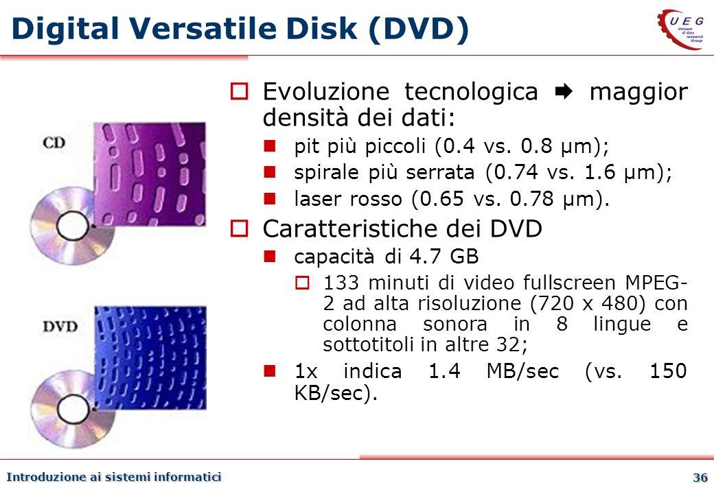 Introduzione ai sistemi informatici 36 Digital Versatile Disk (DVD) Evoluzione tecnologica maggior densità dei dati: pit più piccoli (0.4 vs. 0.8 µm);