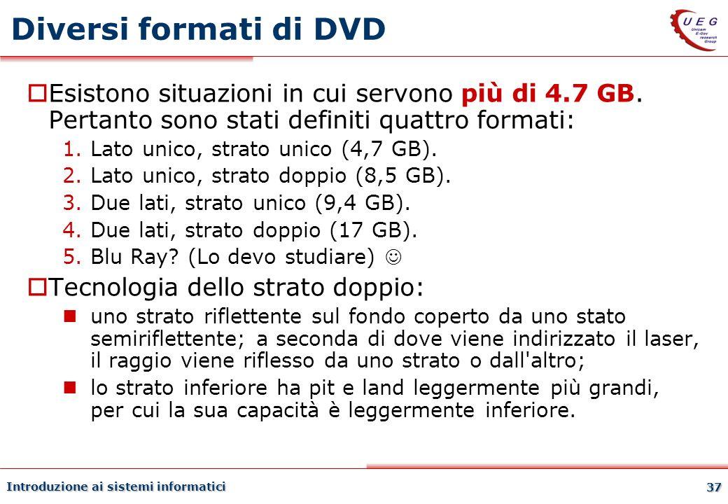 Introduzione ai sistemi informatici 37 Diversi formati di DVD Esistono situazioni in cui servono più di 4.7 GB. Pertanto sono stati definiti quattro f