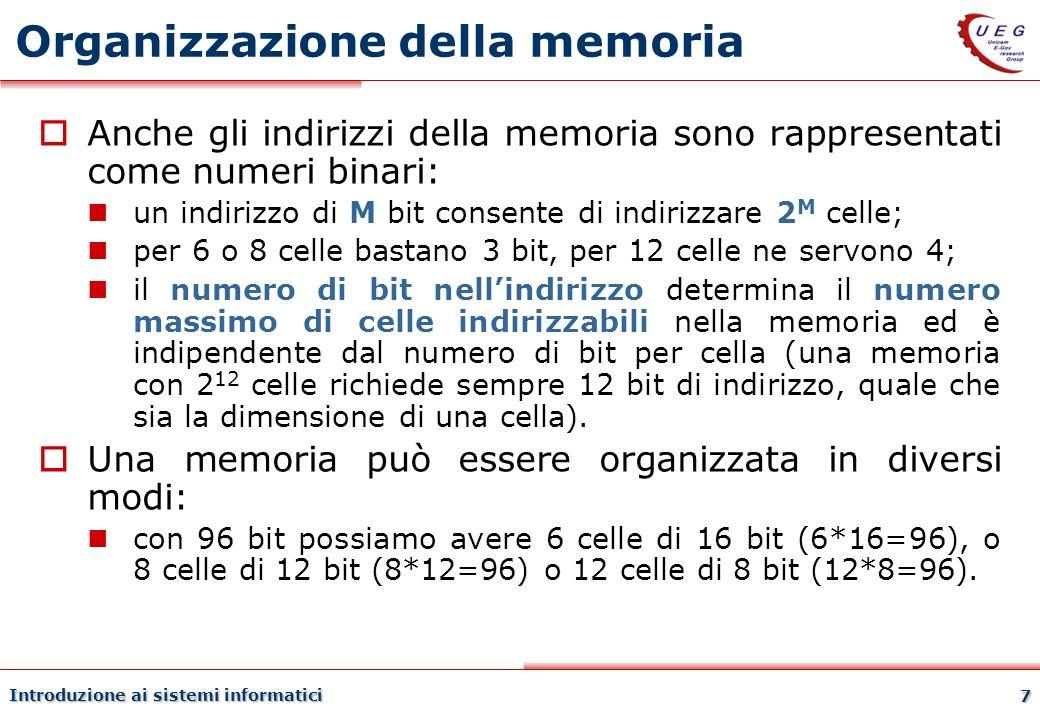 Introduzione ai sistemi informatici 7 Organizzazione della memoria Anche gli indirizzi della memoria sono rappresentati come numeri binari: un indiriz