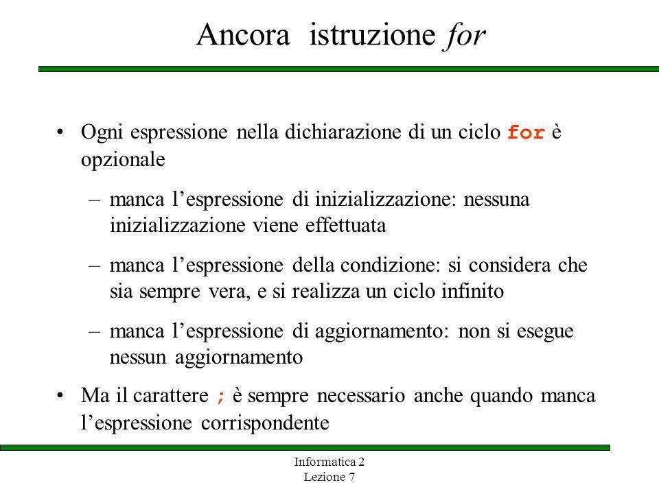 Informatica 2 Lezione 7 Ancora istruzione for Ogni espressione nella dichiarazione di un ciclo for è opzionale –manca lespressione di inizializzazione