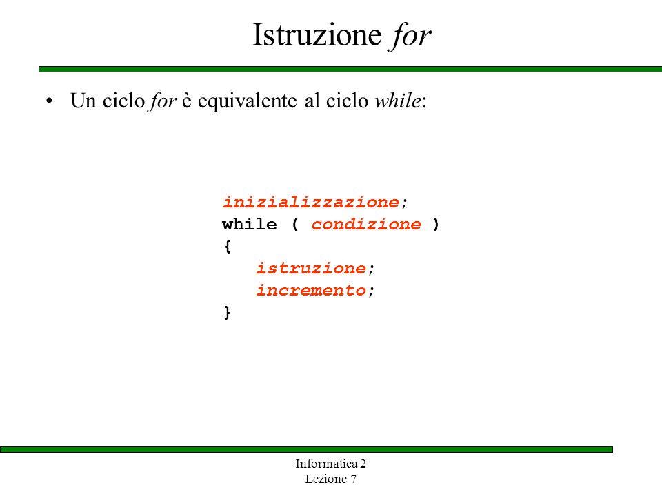 Informatica 2 Lezione 7 Istruzione for Un ciclo for è equivalente al ciclo while: inizializzazione; while ( condizione ) { istruzione; incremento; }