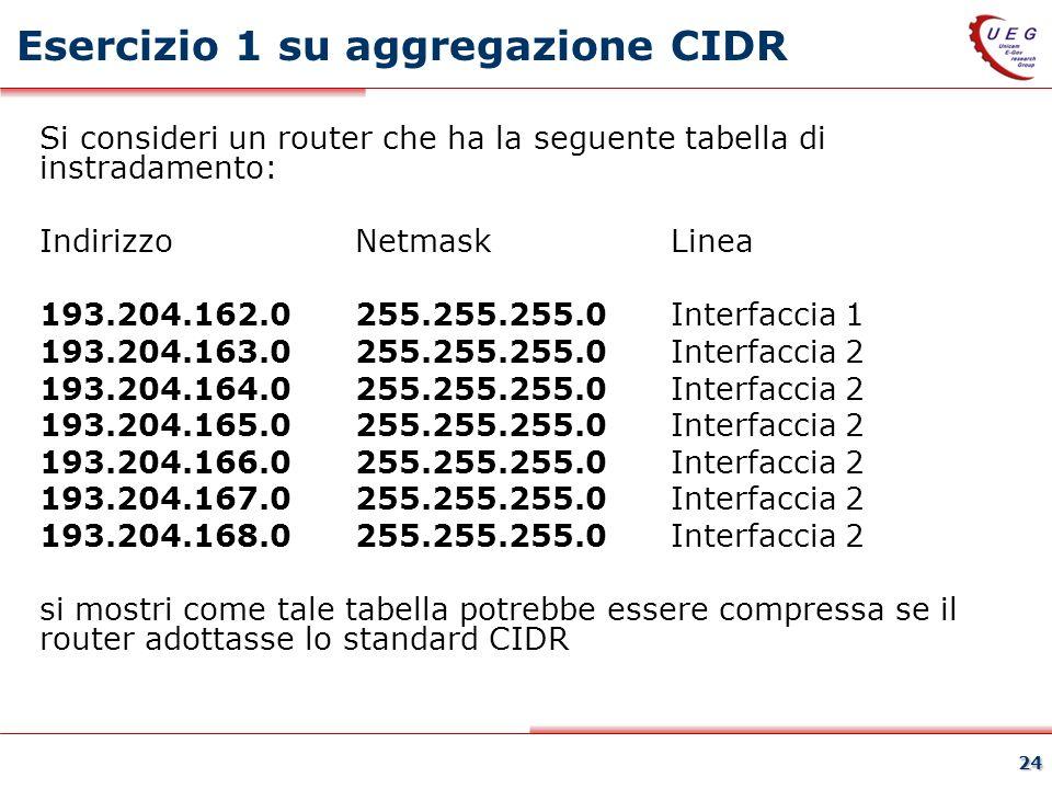 24 Esercizio 1 su aggregazione CIDR Si consideri un router che ha la seguente tabella di instradamento: Indirizzo Netmask Linea 193.204.162.0 255.255.255.0 Interfaccia 1 193.204.163.0 255.255.255.0 Interfaccia 2 193.204.164.0 255.255.255.0 Interfaccia 2 193.204.165.0 255.255.255.0 Interfaccia 2 193.204.166.0 255.255.255.0 Interfaccia 2 193.204.167.0 255.255.255.0 Interfaccia 2 193.204.168.0 255.255.255.0 Interfaccia 2 si mostri come tale tabella potrebbe essere compressa se il router adottasse lo standard CIDR