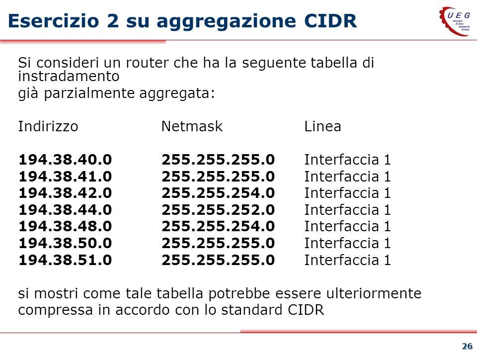 26 Esercizio 2 su aggregazione CIDR Si consideri un router che ha la seguente tabella di instradamento già parzialmente aggregata: Indirizzo Netmask Linea 194.38.40.0 255.255.255.0 Interfaccia 1 194.38.41.0 255.255.255.0 Interfaccia 1 194.38.42.0 255.255.254.0 Interfaccia 1 194.38.44.0 255.255.252.0 Interfaccia 1 194.38.48.0 255.255.254.0 Interfaccia 1 194.38.50.0 255.255.255.0 Interfaccia 1 194.38.51.0 255.255.255.0 Interfaccia 1 si mostri come tale tabella potrebbe essere ulteriormente compressa in accordo con lo standard CIDR