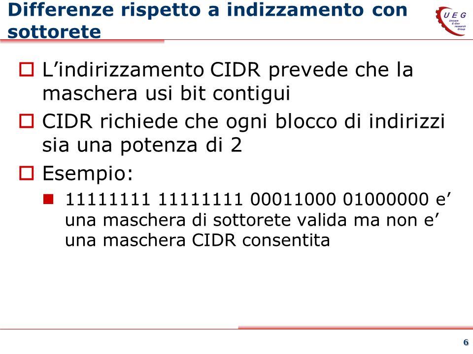 6 Differenze rispetto a indizzamento con sottorete Lindirizzamento CIDR prevede che la maschera usi bit contigui CIDR richiede che ogni blocco di indi