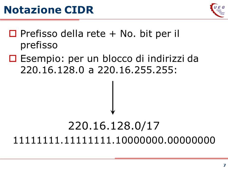28 Esercizio 3 su aggregazione CIDR Si comprima con CIDR la seguente tabella di instradamento: Indirizzo Netmask Linea 140.38.0.0 255.255.0.0 Interfaccia 1 140.39.0.0 255.255.0.0 Interfaccia 1 140.40.0.0 255.255.0.0 Interfaccia 1 140.41.0.0 255.255.0.0 Interfaccia 1 140.42.0.0 255.255.0.0 Interfaccia 1 140.43.0.0255.255.0.0 Interfaccia 1 140.44.0.0 255.255.0.0 Interfaccia 1 140.45.0.0255.255.0.0 Interfaccia 1 140.46.0.0 255.255.0.0 Interfaccia 2 140.47.0.0 255.255.0.0 Interfaccia 1 140.48.0.0 255.255.0.0 Interfaccia 1