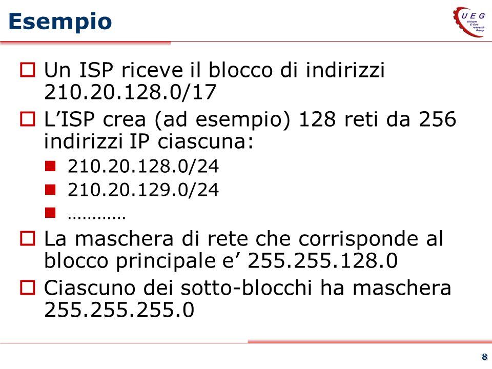 8 Esempio Un ISP riceve il blocco di indirizzi 210.20.128.0/17 LISP crea (ad esempio) 128 reti da 256 indirizzi IP ciascuna: 210.20.128.0/24 210.20.129.0/24 ………… La maschera di rete che corrisponde al blocco principale e 255.255.128.0 Ciascuno dei sotto-blocchi ha maschera 255.255.255.0