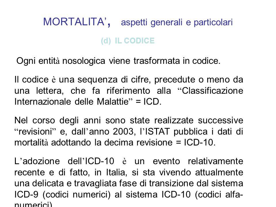 MORTALITA, aspetti generali e particolari (d) IL CODICE Ogni entit à nosologica viene trasformata in codice. Il codice è una sequenza di cifre, preced