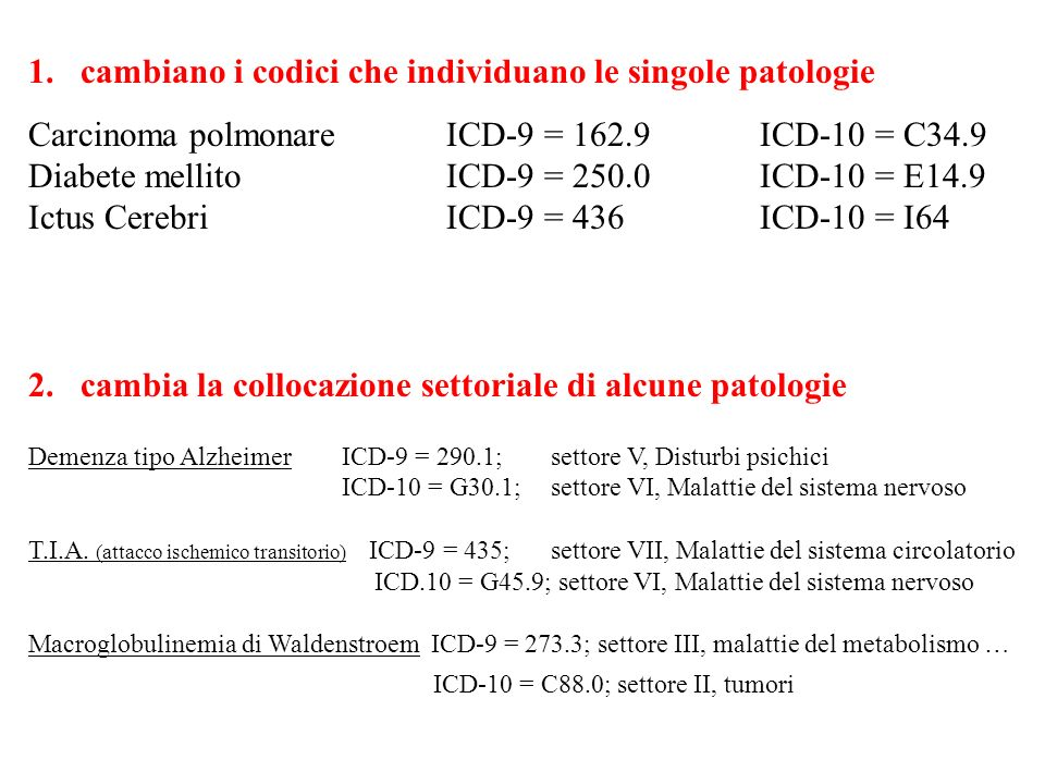 1. cambiano i codici che individuano le singole patologie Carcinoma polmonareICD-9 = 162.9ICD-10 = C34.9 Diabete mellitoICD-9 = 250.0ICD-10 = E14.9 Ic