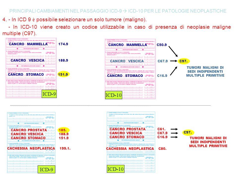 PRINCIPALI CAMBIAMENTI NEL PASSAGGIO ICD-9 ICD-10 PER LE PATOLOGIE NEOPLASTICHE 4. - In ICD 9 è possibile selezionare un solo tumore (maligno). - In I