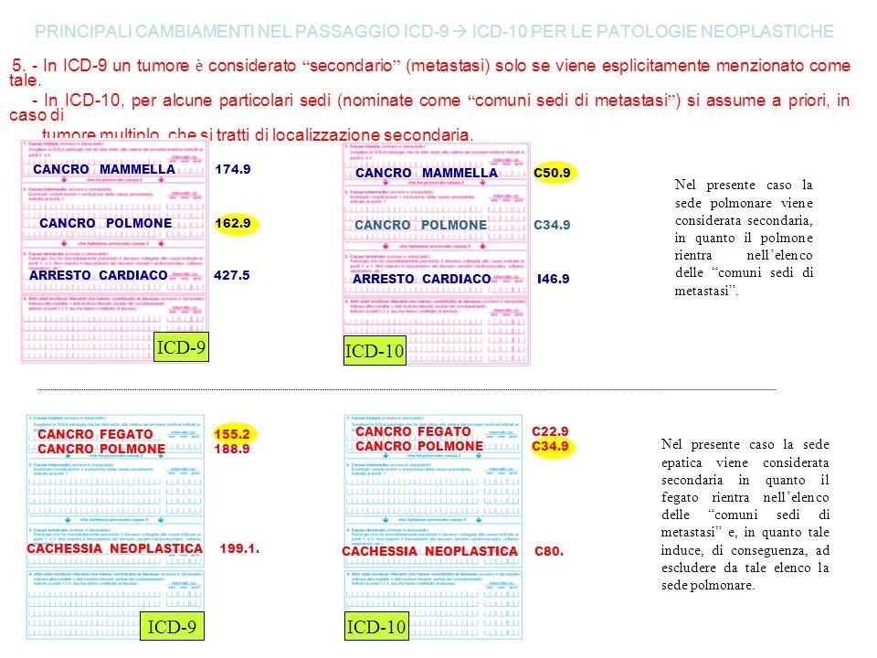 PRINCIPALI CAMBIAMENTI NEL PASSAGGIO ICD-9 ICD-10 PER LE PATOLOGIE NEOPLASTICHE 5. - In ICD-9 un tumore è considerato secondario (metastasi) solo se v