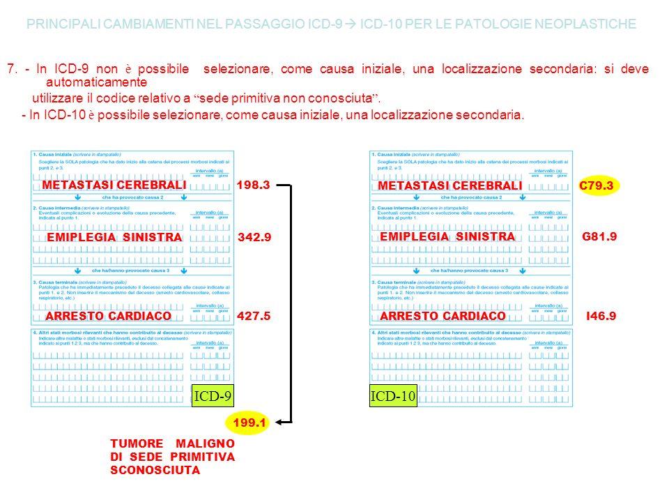 PRINCIPALI CAMBIAMENTI NEL PASSAGGIO ICD-9 ICD-10 PER LE PATOLOGIE NEOPLASTICHE 7. - In ICD-9 non è possibile selezionare, come causa iniziale, una lo