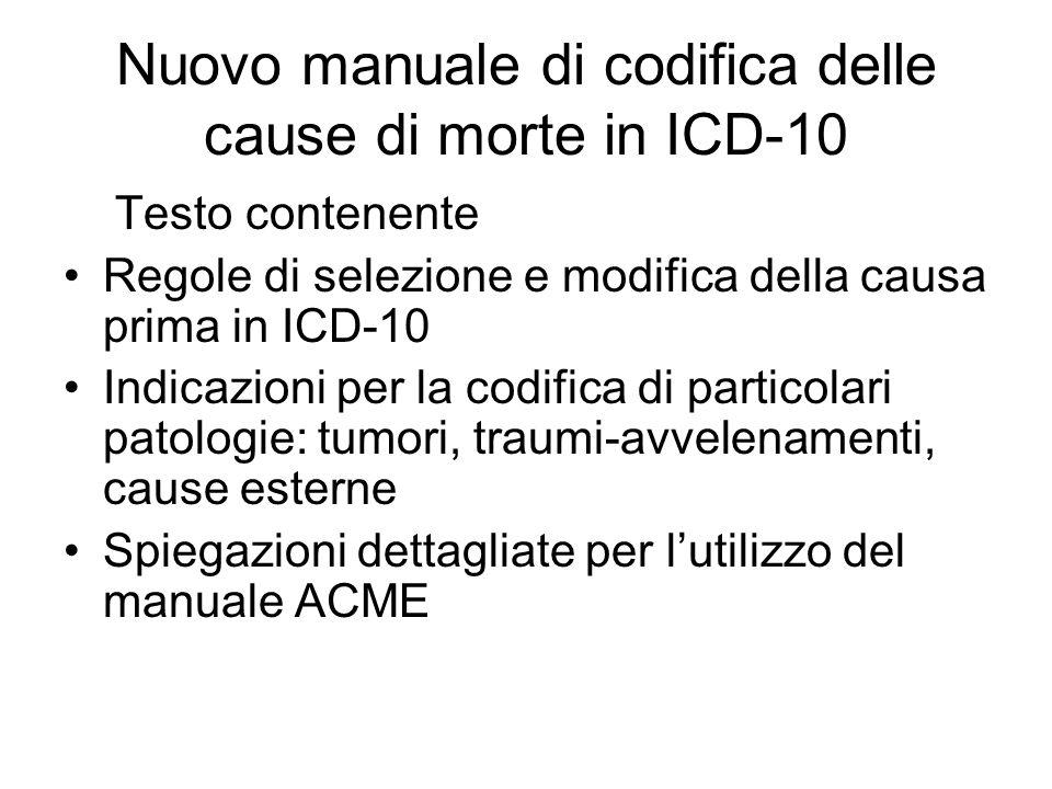 Nuovo manuale di codifica delle cause di morte in ICD-10 Testo contenente Regole di selezione e modifica della causa prima in ICD-10 Indicazioni per l
