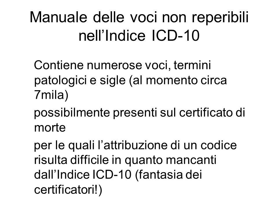 Manuale delle voci non reperibili nellIndice ICD-10 Contiene numerose voci, termini patologici e sigle (al momento circa 7mila) possibilmente presenti