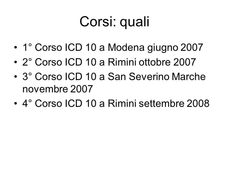 Corsi: quali 1° Corso ICD 10 a Modena giugno 2007 2° Corso ICD 10 a Rimini ottobre 2007 3° Corso ICD 10 a San Severino Marche novembre 2007 4° Corso I