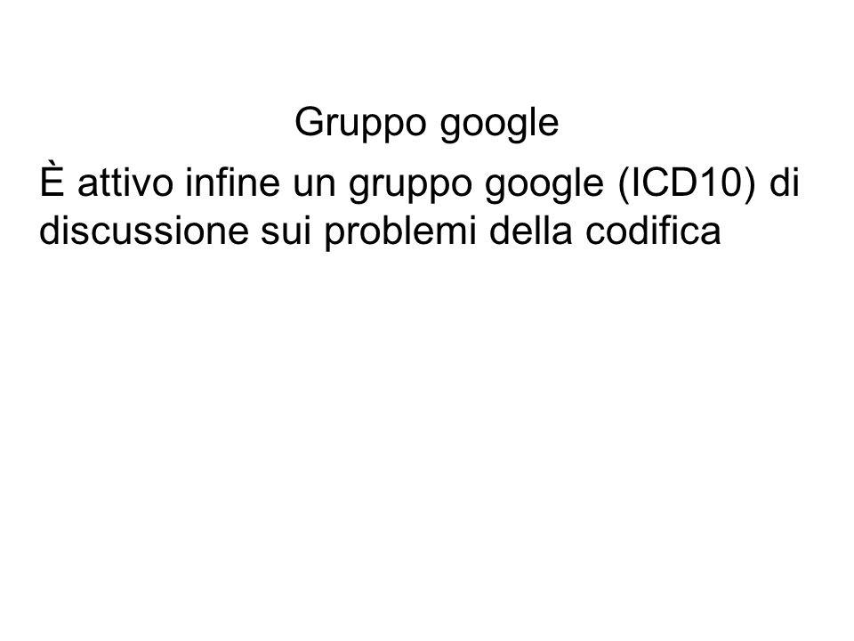È attivo infine un gruppo google (ICD10) di discussione sui problemi della codifica Gruppo google