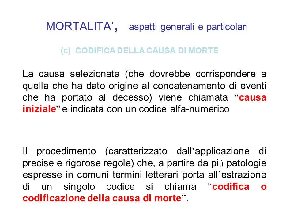 MORTALITA, aspetti generali e particolari (c) CODIFICA DELLA CAUSA DI MORTE La causa selezionata (che dovrebbe corrispondere a quella che ha dato orig