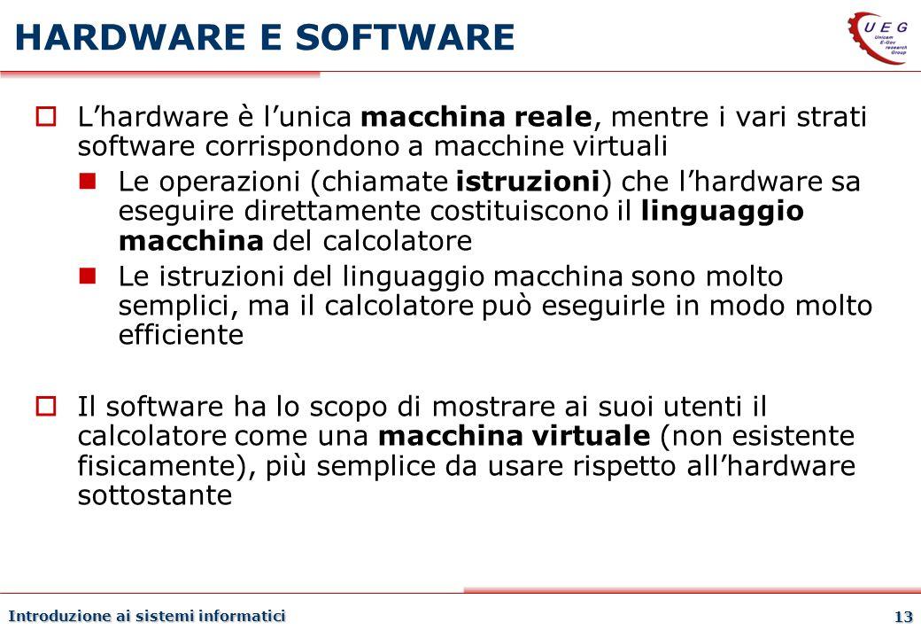 Introduzione ai sistemi informatici 13 HARDWARE E SOFTWARE Lhardware è lunica macchina reale, mentre i vari strati software corrispondono a macchine v