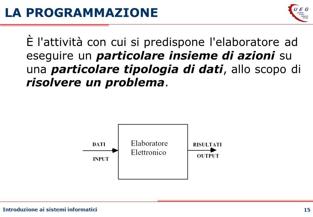 Introduzione ai sistemi informatici 15 LA PROGRAMMAZIONE È l'attività con cui si predispone l'elaboratore ad eseguire un particolare insieme di azioni