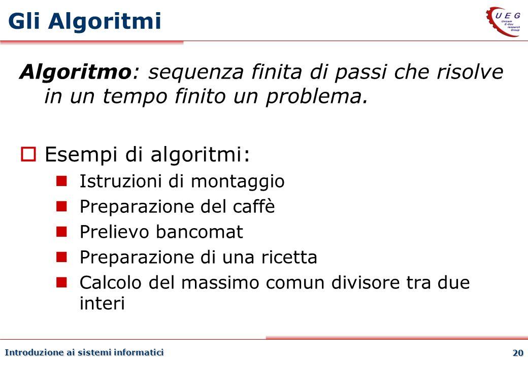 Introduzione ai sistemi informatici 20 Gli Algoritmi Algoritmo: sequenza finita di passi che risolve in un tempo finito un problema. Esempi di algorit