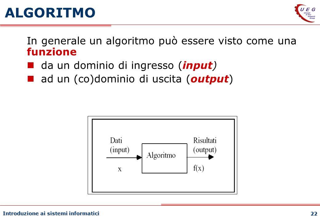 Introduzione ai sistemi informatici 22 ALGORITMO In generale un algoritmo può essere visto come una funzione da un dominio di ingresso (input) ad un (